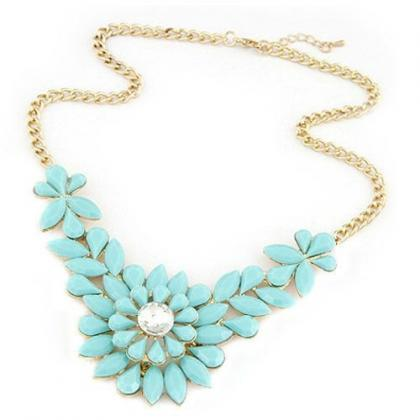 Flower crystal statement prom blue dress girl necklace