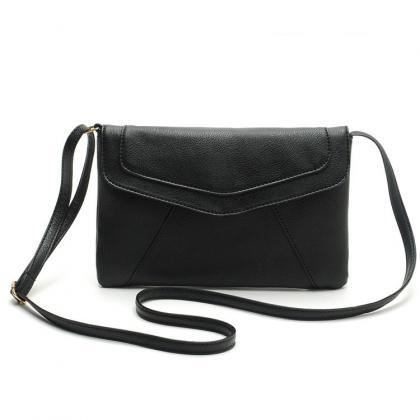 Black Faux Leather Messenger Crossb..