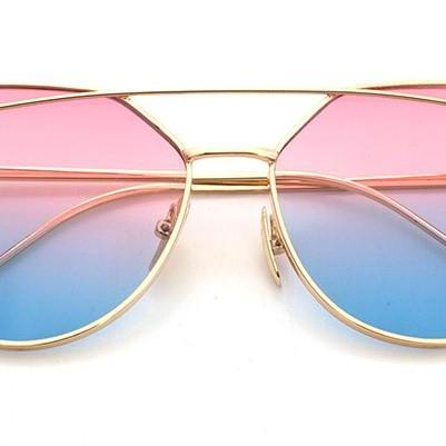 Rose-Blue Lenses Cat Eye Sunglasses..