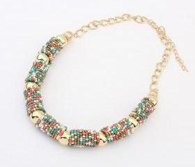 Statement beads fashion woman jewelry colorful necklace