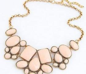 Vintage jewelry statement fashion pink woman necklace