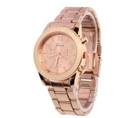 Stainless steel fashion dress rose gold woman watch