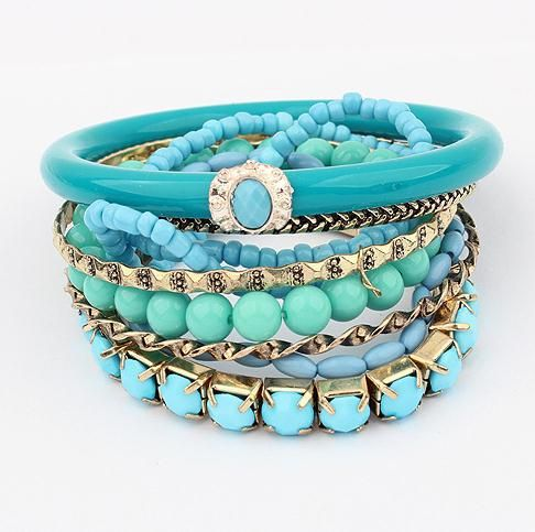 Vintage blue charm multi layer girl bracelet