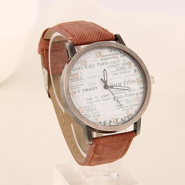 Newspaper face cool teen brown unisex watch