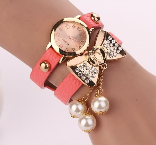 Bow knot dress fashion pink rhinestones woman watch