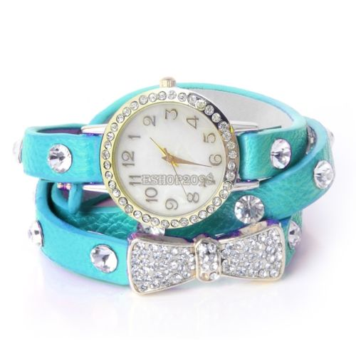 Bow Tie blue Strap Rhinestones Woman Watch