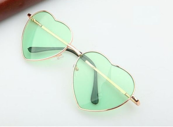 Heart-shaped green Valentine gift reflective lenses girl sunglasses