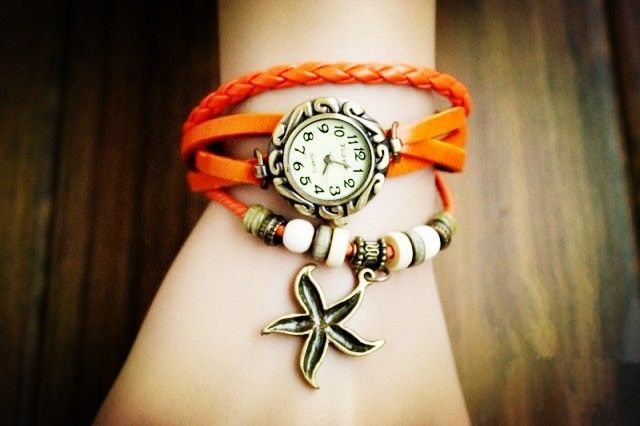 Star Pendant orange Leather Vintage Girl Watch