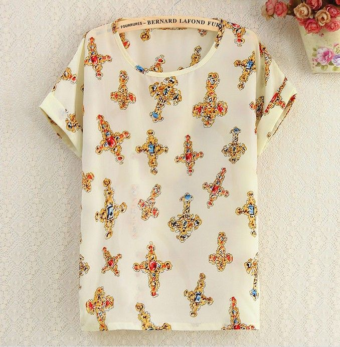 Religious Cross Shirt Print summer Tee Girl Top