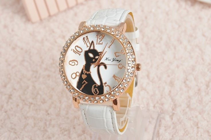 Black Cat Face white Rhinestones Leather Girl Watch