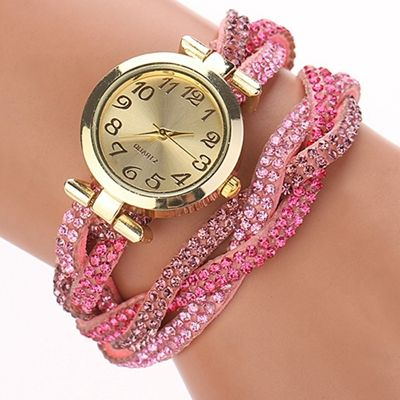 Rhinestones bracelet Wrap prom pink Girl Watch