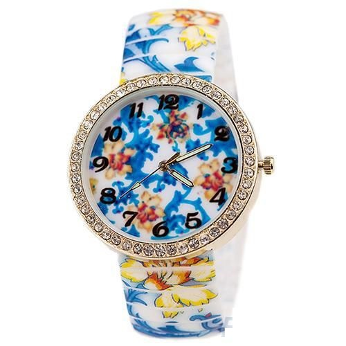 Floral blue silicone cute girl watch