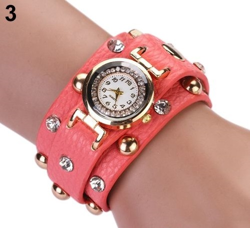 Rock girl fashion pink Pu leather band watch