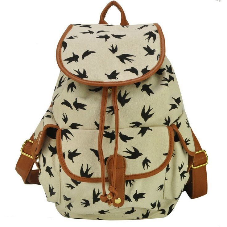 Bird Print White Graphic Canvas Backpack Girl Backpack on Luulla