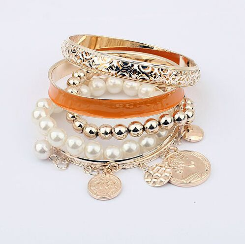 Trendy pearls coins and chain charm orange woman bracelet