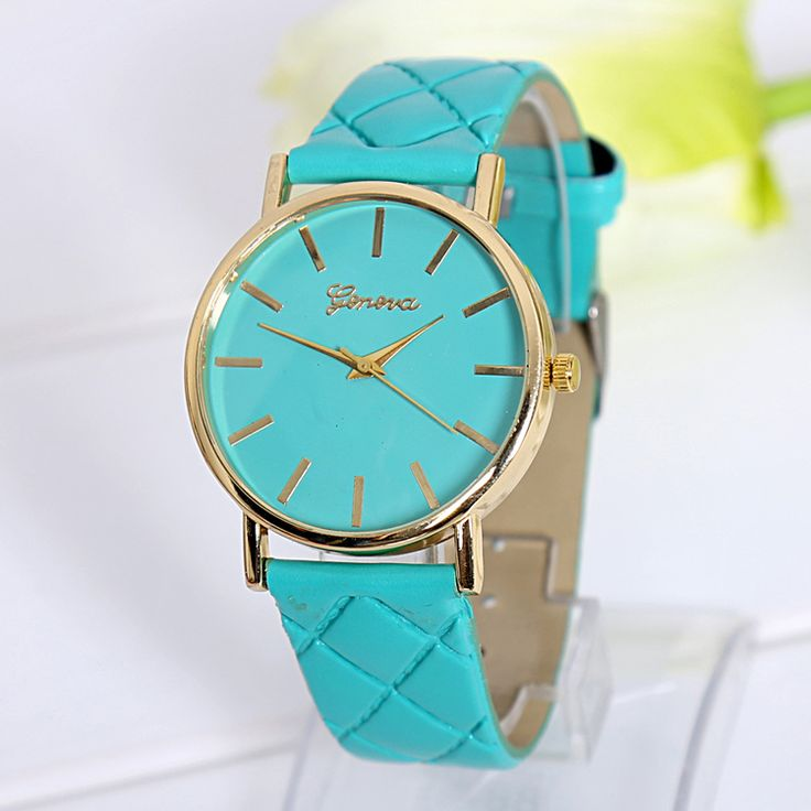 Fashion lady dress green PU leather band watch