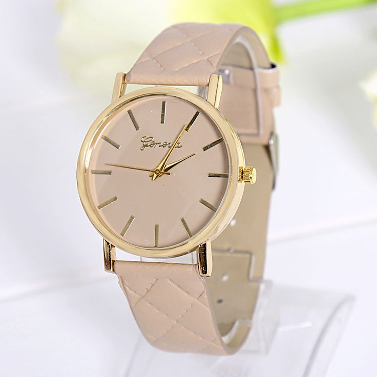 Fashion lady dress beige PU leather band watch