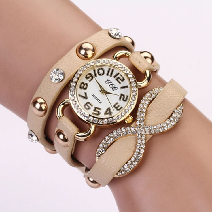 Dress luxury rhinestones beige prom woman watch