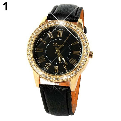 Luxury fashion rhinestones crystals PU leather black band watch