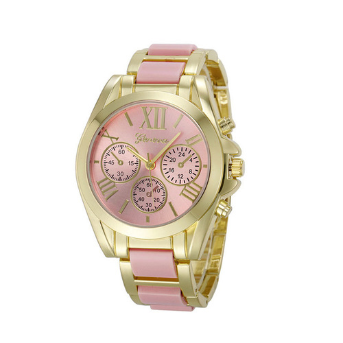 Gold Toned Alloy Strap Woman Dress Fashion Evening Pink Watch