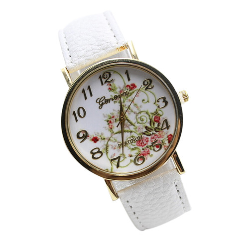 WristWatches Flowers Face Quartz Women Dress PU Leather White Band Watch