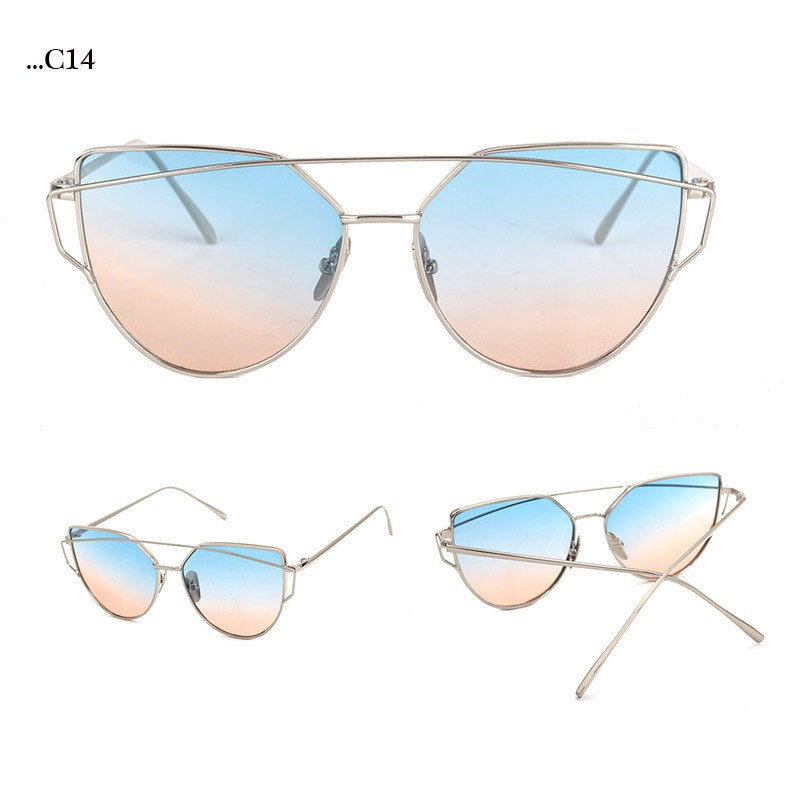 Rose-Blue Lenses Cat Eye Sunglasses Women Sunglasses Double-Deck Alloy Frame Sunglasses