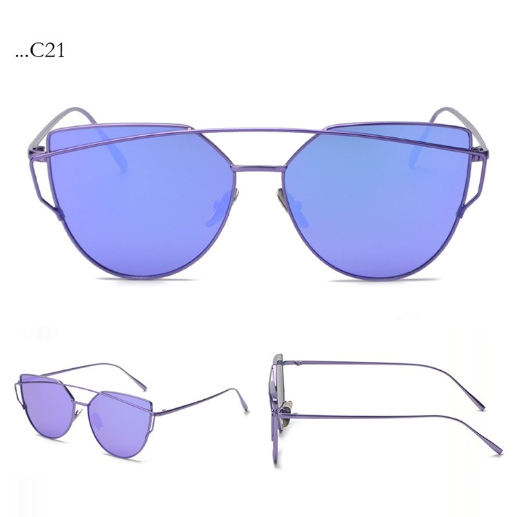 Fashion Lenses Cat Eye Sunglasses Women Sunglasses Double-Deck Alloy Frame Sunglasses