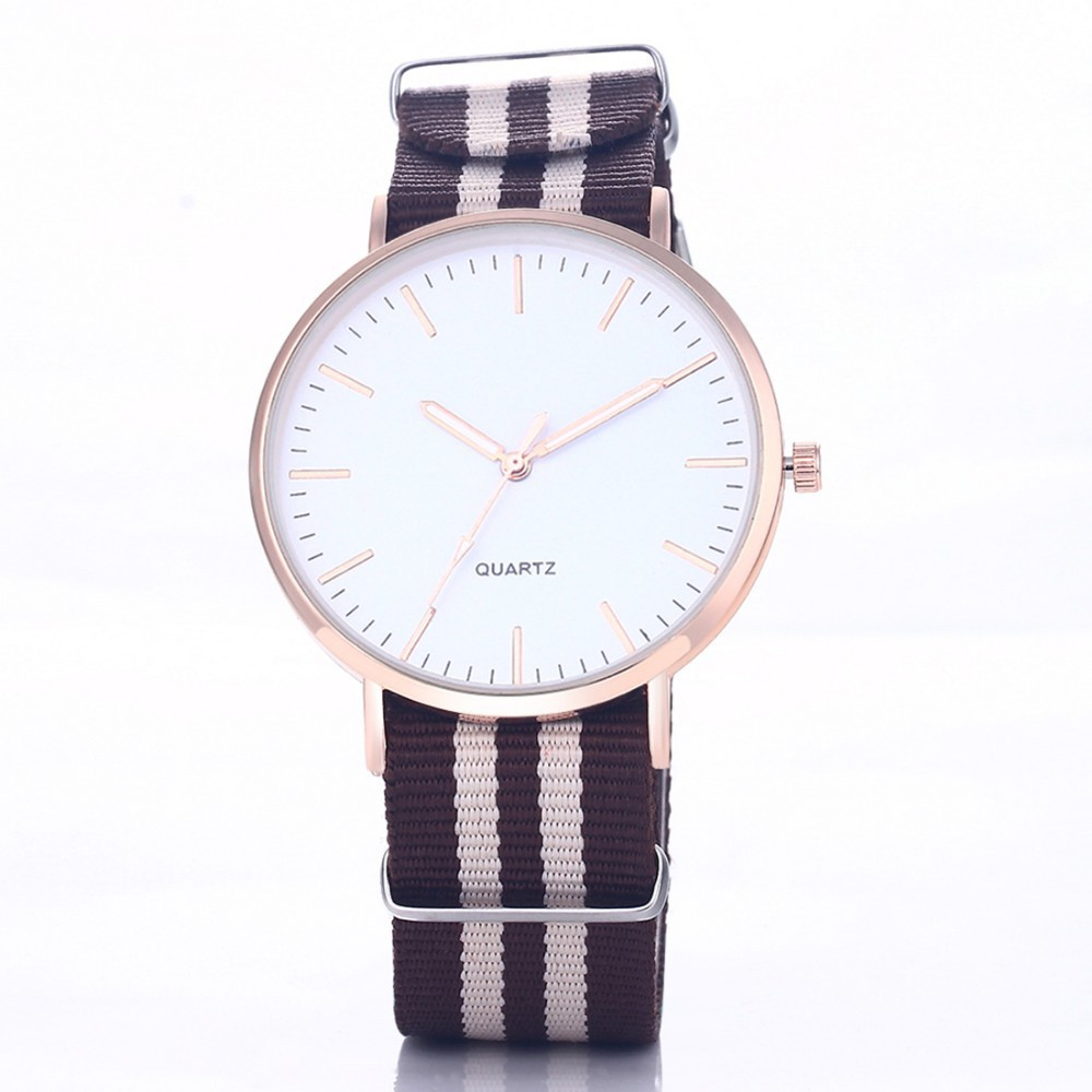 Casual Sport Style Nylon Strap Black - Gray Band Unisex Party Teen Quartz Woman Watch