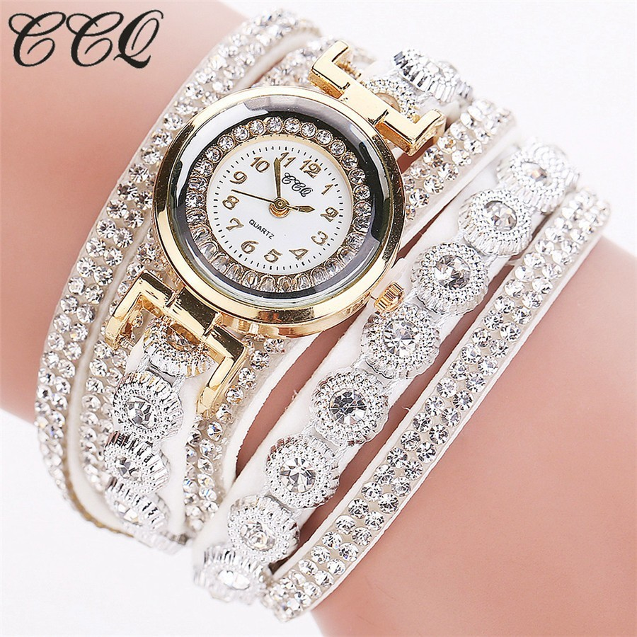 Crystals Rhinestones wrap bracelet white band fashion rhinestones woman dress watch