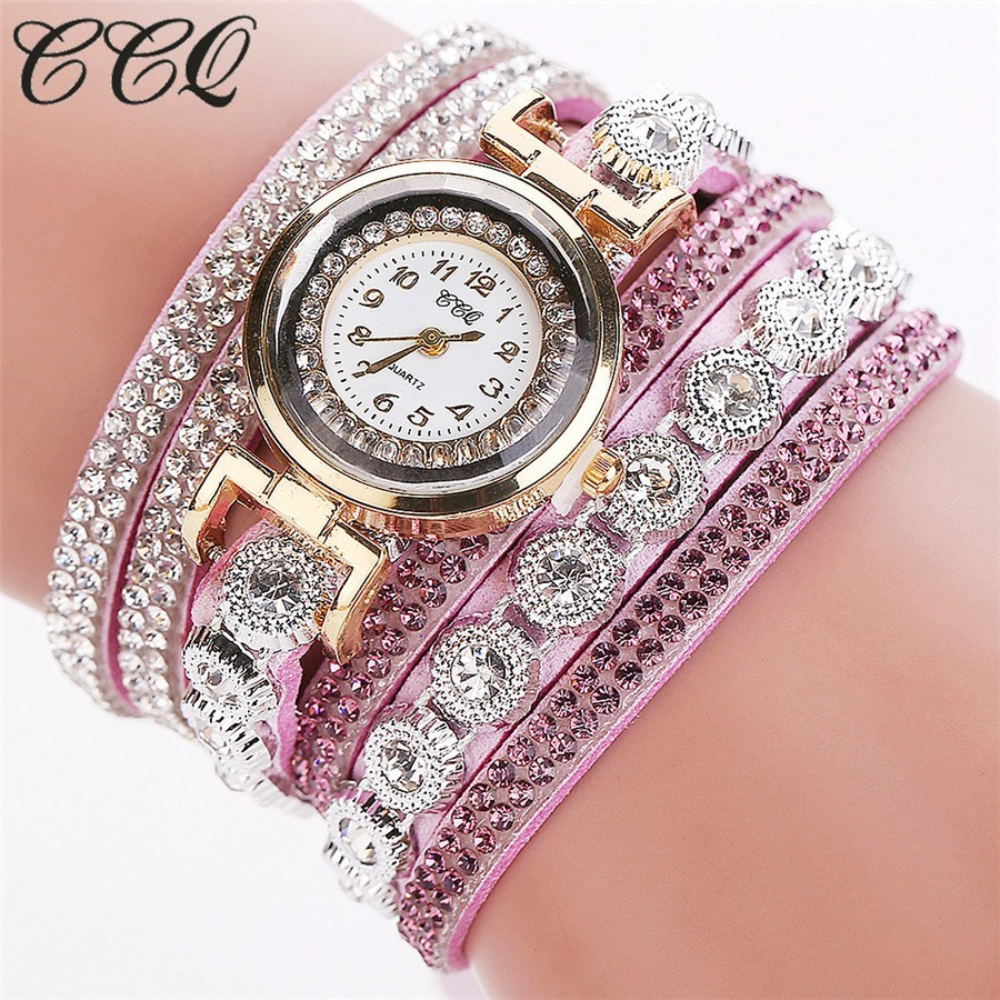 Crystals Rhinestones wrap bracelet purple band fashion rhinestones woman dress watch