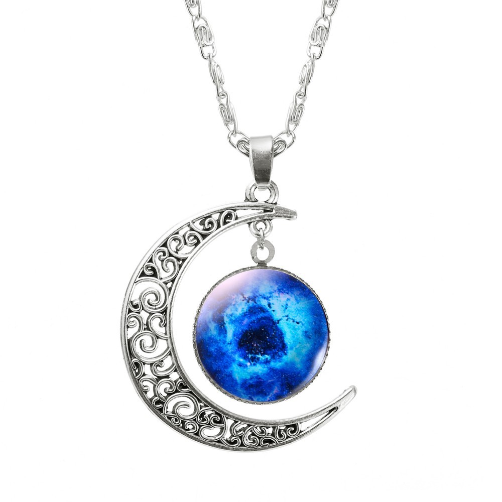Vintage Moon Space Teen Colorful Love you to the Moon and Back crescent pendant Necklace
