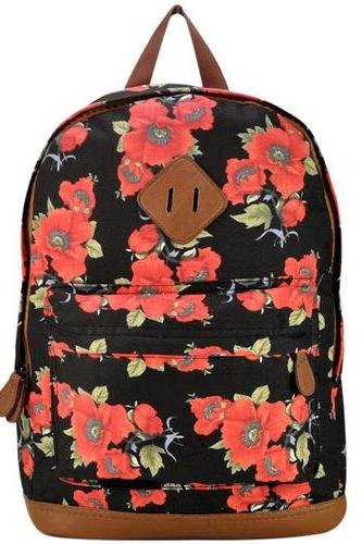Summer Floral Canvas Backpack