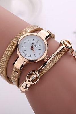 Wrap Pu leather beige dress woman wrist watch