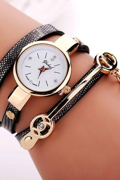 Wrap Pu leather black dress woman wrist watch