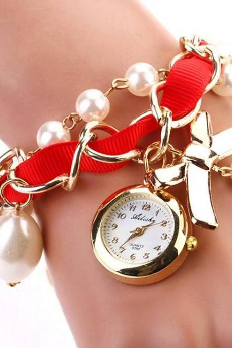 Bow tie pendant pearls red band woman watch