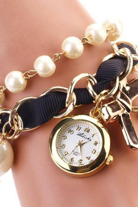 Bow tie pendant pearls black band woman watch