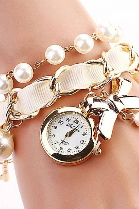 Bow tie pendant pearls band woman watch