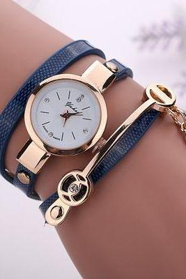 Wrap Pu leather blue dress woman wrist watch