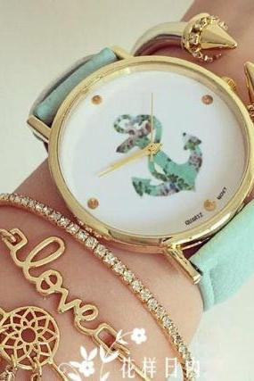 Anchor design trendy leather girl watch