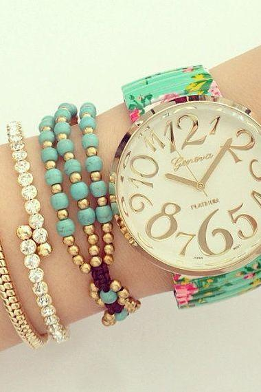 Floral fashion summer party girl teen watch