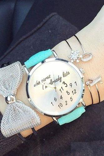 Who cares I am always late green strap watch