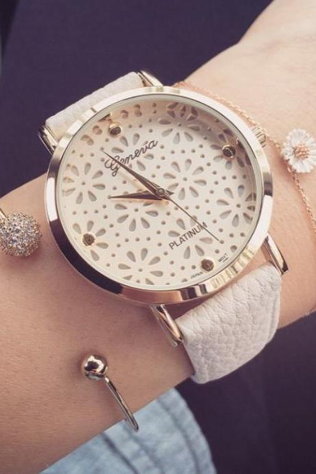 Cute floral teen girl white party watch