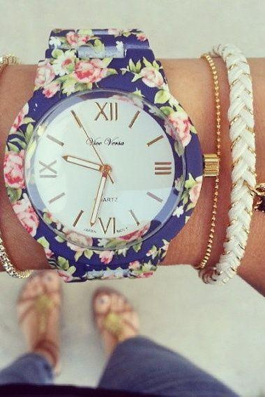 Flowers Print Blue cute Fashion Girl Watch