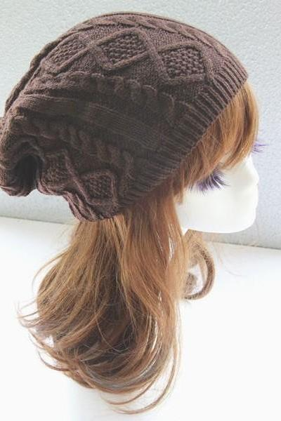 Girl fashion brown winter warm knitted hat
