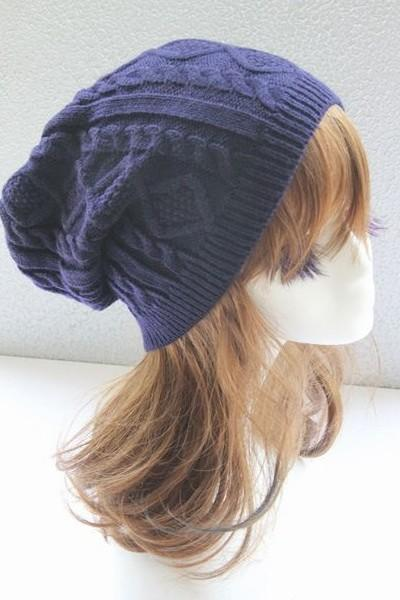 Girl fashion blue winter warm knitted hat