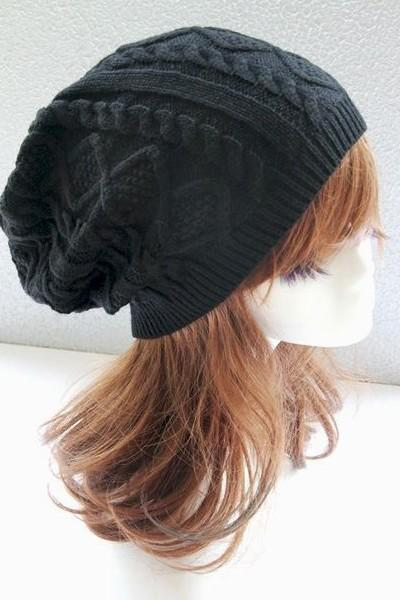 Girl fashion black winter warm knitted hat
