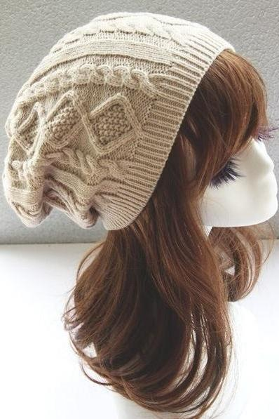 Girl fashion beige winter warm knitted hat