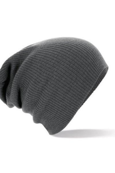 Winter unisex grey color warm knitted hat