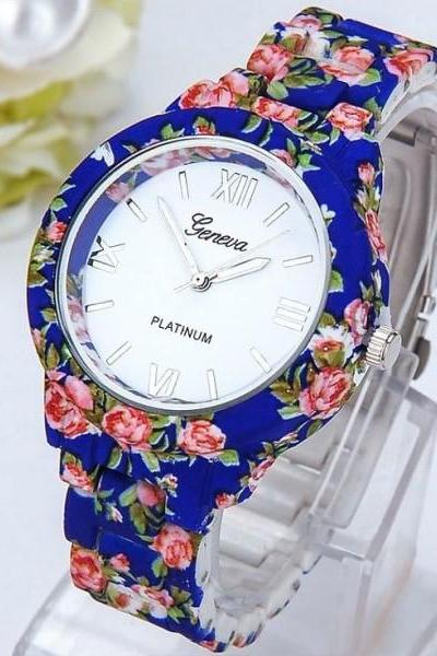 Flowers blue fashion girl teen cute plastic band watch