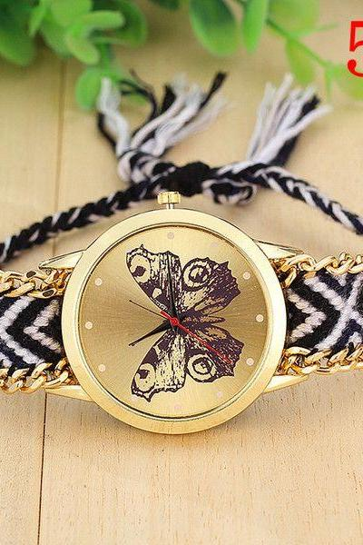 Butterfly face hippie colorful band watch